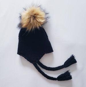 kids fur pompom beanie hat